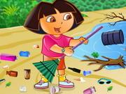 تنظيف الشاطئ مع دورا